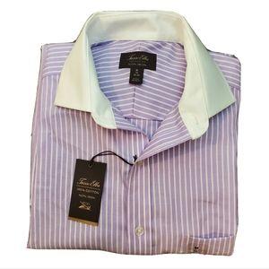 Tasso Elba Men's White Collar Striped Purple Shirt